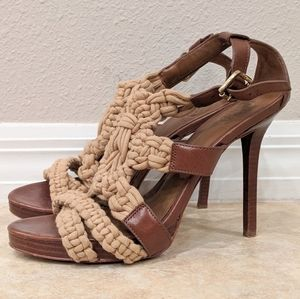 TORY BURCH Braided Strappy Sandal Heel sz 8